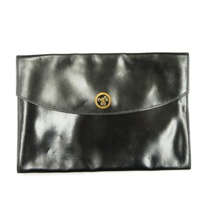 Hermes Pochette Rio Clutch Box Calf Black 0251 Women's