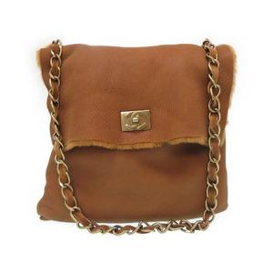 Chanel Coco Mark Mouton Brown Shoulder Bag Gold Chain Women's 0100