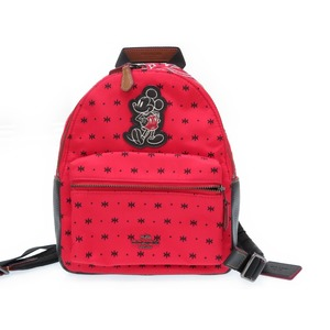 Coach × Disney Mickey Nylon Backpack Bag F59831 Red 0055