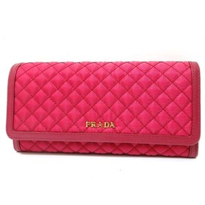 Prada Leather × Quilted Folding Wallet Im 1132 Red (Ibisco) 0118 Prada Unisex