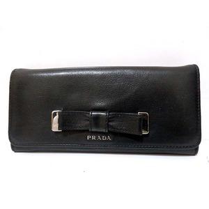 Prada Leather Folded Purse Ribbon Black 0119 Prada Women's