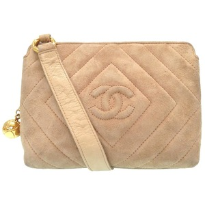 Chanel Coco Mark Matrasse Gold Chain Shoulder Bag Suede Beige Women's 0201
