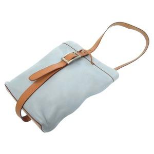 Celine Vintage Shoulder Bag Leather Light Blue Women's 0093