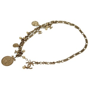 Chanel Fake Pearl Medallion Chain Belt 04a Limited Champagne Gold 0209