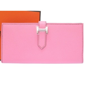 Hermes Barensfre Rose Confettivo Epson Purse □ O Engraved (Made In 2011) Wallet 0104