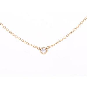 ティファニー(Tiffany) 中古 ティファニー バイザヤード ネックレス YG ダイヤ 1.8g 未使用 TIFFANY&CO