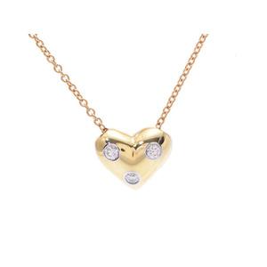 ティファニー(Tiffany) 中古 ティファニー ドッツ ピンチドハート ネックレス YG/PT950 3Pダイヤ 3.6g 箱 TIFFANY&CO