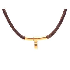 Hermes Choker Necklace Leather Gp Hardware