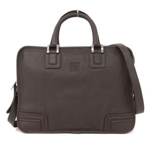 Loewe Amasona Leather Business Bag Shoulder 2 Way Brown Rhb00049
