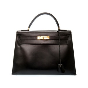 Hermes Kelly 32 Box Calf Black Handbag 0 R Engraved 0413 Vintage
