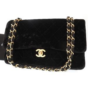Chanel Matrasse 25 Velor Double Flap Lid W Chain Shoulder Bag Black 0408 Chanel