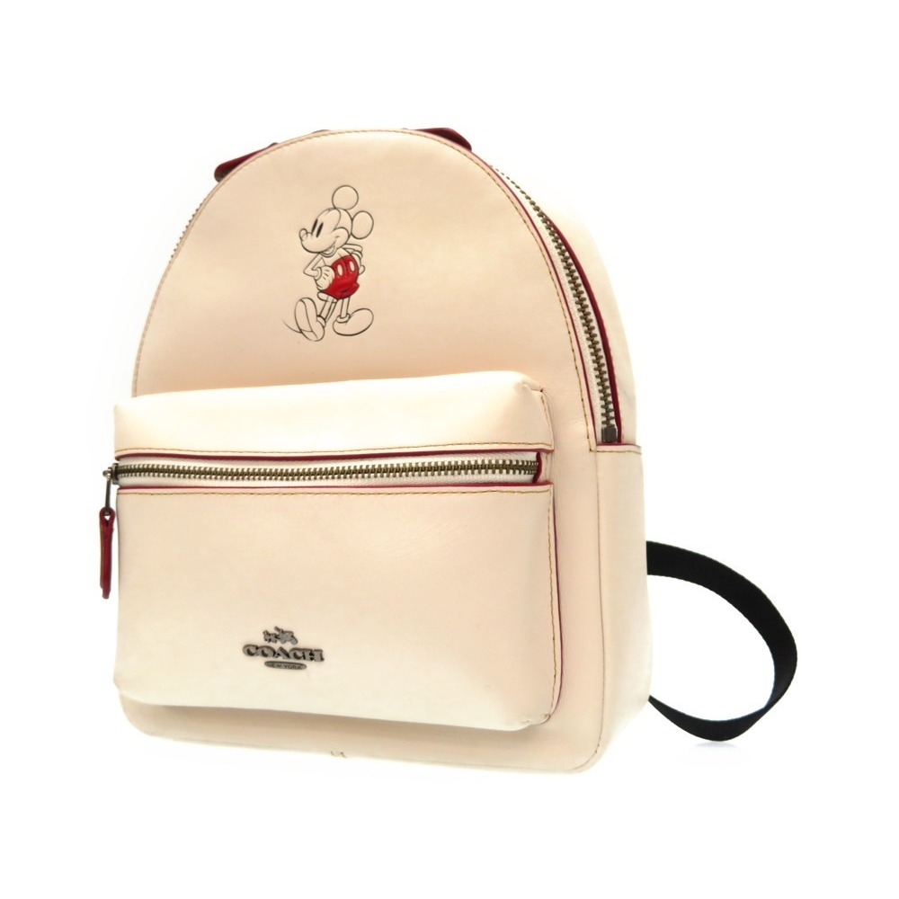 3491aa22c9e ... ireland coach disney collaboration mickey mouse leather backpack sat  day bag f59837 chalk white series 0229