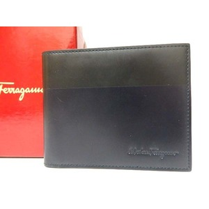 Salvatore Ferragamo Leather Wallet Folded Bicolor Black Blue 0470 Men's