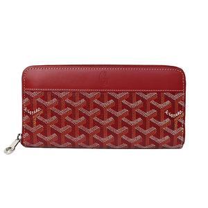 Goyar Goyard Round Zipper Long Wallet Red Pvc Calf Womens