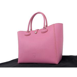 Loewe Logo Leather Leo Tote Bag Shoulder Pink