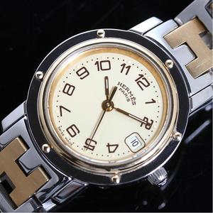 Hermes Clipper Cl 4.220 Quartz Combination Ivory Ladies Watch Finished