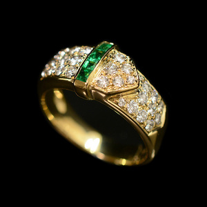 Auth Non Branded Yellow Gold (18K) Emerald Ring Carat/0.25 Yellow Gold