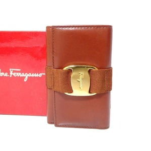 Salvatore Ferragamo Vala Ribbon Leather 6 Sequential Key Case Brown 0115 Salvatore Unisex