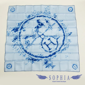 Hermes Curry 70 Light Blue Scarf With Pouch