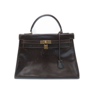 Hermes Kelly 32 Handbag Box Calf Bag E Engraved Gold Hardware 0146