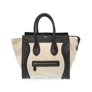 Celine Mini Shopper By Color Ivory Black Leather Canvas Bag 0306 Ladies'