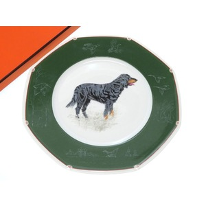 Hermes Dog Handle Plate Dish Pottery Green Accessory Tray 0370 Hermes