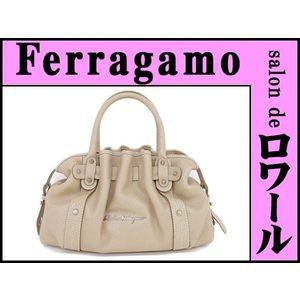 Salvatore Ferragamo Ferragamo Leather Handbag Beige * Bg