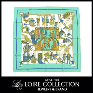 Hermes Hermes Scarf Curry 90 Le Temps Des Marionnettes Ayatsuri Doll Pattern Green Series Women *