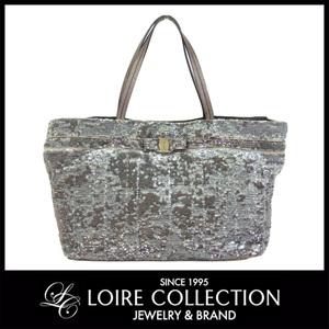 Ferragamo Salvatore Ferragamo Sequin Tote Bag Beige × Silver Metallic Gold Ladies * Bg