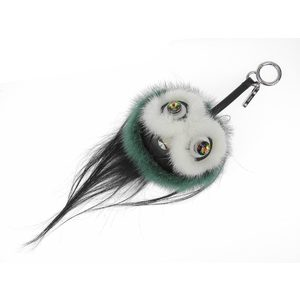 Fendi Coolibri Fur Monster Charm Black White Green 7ar399-4cn
