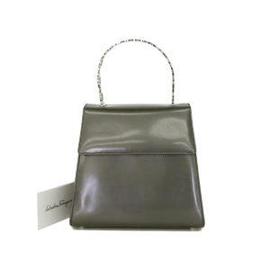 Salvatore Ferragamo Ganchini Bracket Handbag Party Patent Gray