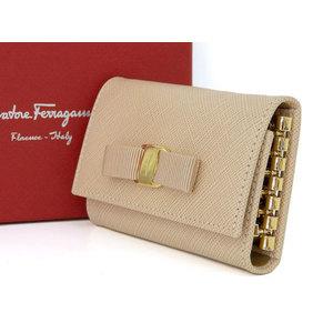 Salvatore Ferragamo Vala Ribbon 6 Sequential Key Case Keyring Beige Leather