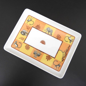Hermes Africa Tray Square Plate China Orange