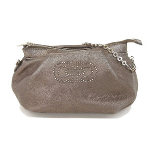 Salvatore Ferragamo Outside Beauty Goods Ferragamo Salvatore Gancini Chain Leather Handbag Party Bags Make-up Pouch 2 Way