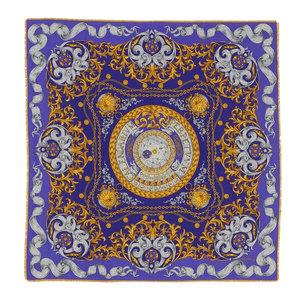 Celine 90's Italian Made Constellation Board Pattern Silk Blend 140 Cm Fringe Stole