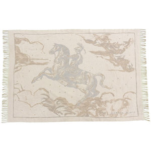 Hermes Horse Riding Knight Super Large Format Double Face Fringe Blanket Cashmere 200 X 150 Cm Untagged