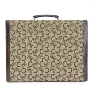 Celine 60's Italian Leather X Canvas Salki Dial Lock Attache Case