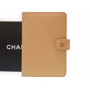 Chanel Coco Mark Agenda Notebook Cover Leather Beige Ladies 0227