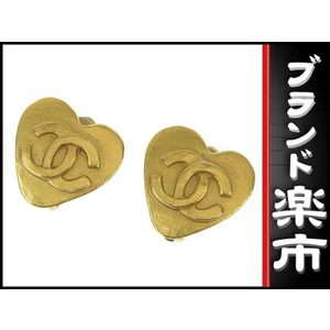 Chanel Chanel Coco Mark Heart Earrings Gold 95 P
