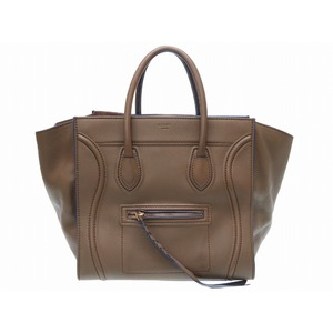 Celine Luggage Phantom Small Square Leather Khaki Hand Bag With Domestic Purchase Certificate 0275