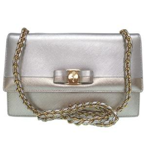 Salvatore Ferragamo Vala Gold Chain Shoulder Bag Bicolor Silver Leather 0499