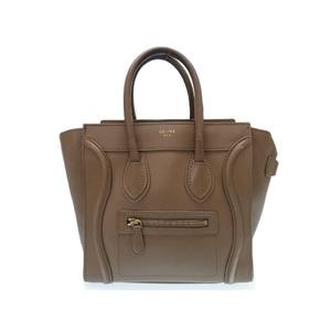 Celine Luggage Micro Shopper Handbag Leather Gurege 0476 Ladies'