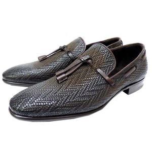 Berlutti Matisse Loafer Shoes 6 Men's 0187 Berluti Leather Braided Brown