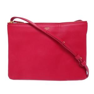 Celine Leather Trio Shoulder Bag Red 0475