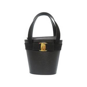 Salvatore Ferragamo Vala Lizard Embossed Leather Handbag Ba 216161 Black 0680