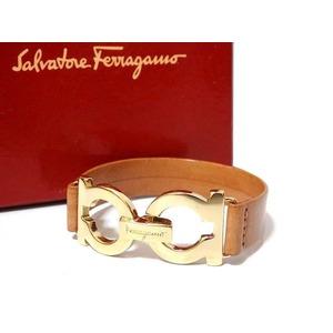 Salvatore Ferragamo Leather Ganchini Hardware Bracelet Beige 0627 Unisex