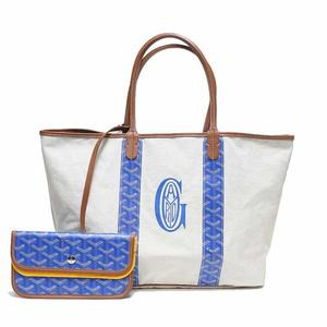 Goyard Women's Coated Canvas PVC Leather Tote Bag Blue