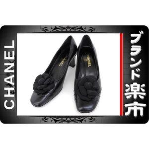 <Br> Chanel Camellia Coco Mark Leather Pumps Black 37 C
