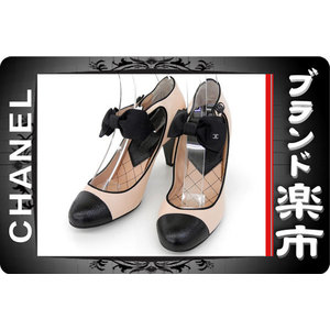 <Br> Chanel Ribbon Strap Leather Pumps Pink × Black 37 C
