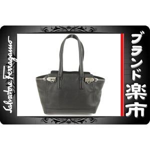 Salvatore Ferragamo <Br> Ferragamo Salvatore Tote Bag Gancini Leather Black Silver Hardware